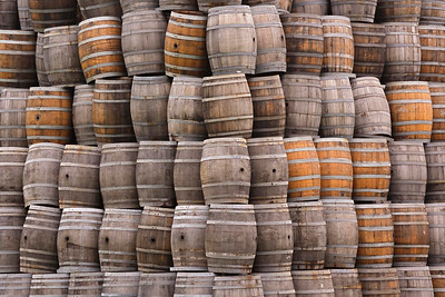 Stacked wine barrels, Napa Valley, California