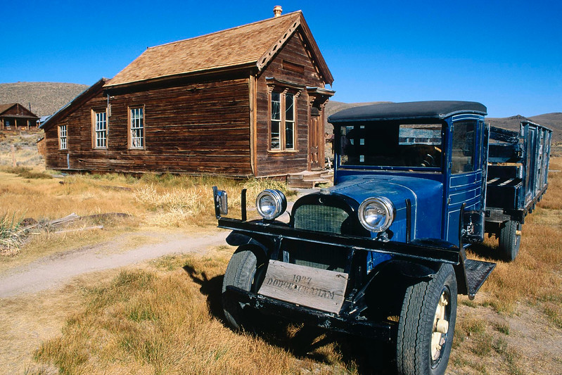 1937 Dodge truck and the post office on Main Street, Bodie State Historic Park (National Historic Landmark), California