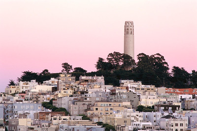 Coit Tower and Telegraph Hill at twilight, San Francisco. California, USA