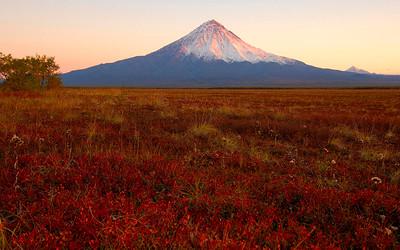 Kronotsky Volcano at sunset, Kronotsky Zapovednik Reserve, Kamchatka, Russia