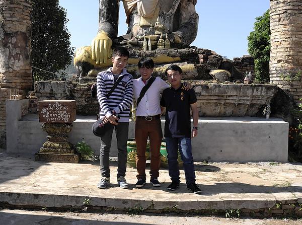 Tham, Souk, and Vong (L-R) at Wat Phia Wat in Muang Khounn