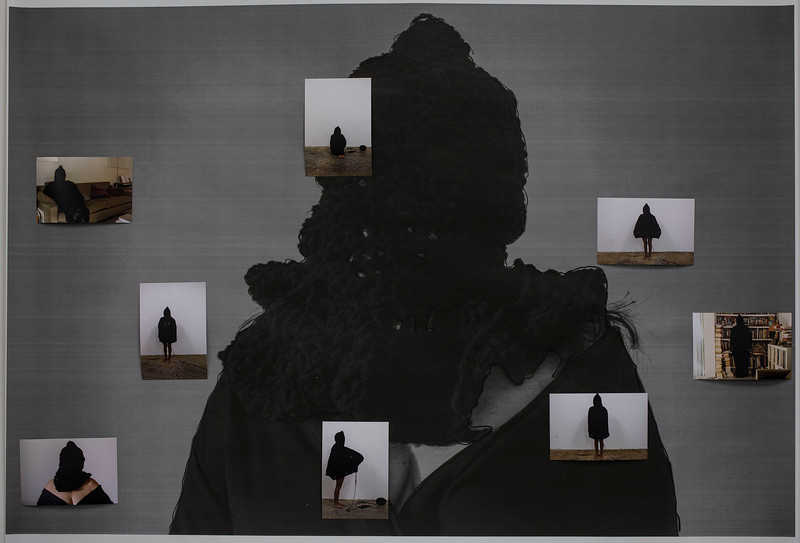 Disappearance II (Cocoon), 2018<br /> 30 x 43 inches <br /> xerox image with 4 x 6 color photographs