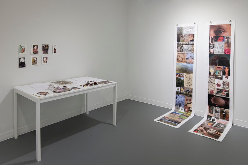 resonance I (a.k.) & resonance II (j.s.), 2020-21<br /> Two photographic scrolls. Archival pigment on canvas<br /> 96 x 13 inches <br /> A table of correspondence and ephemera objects