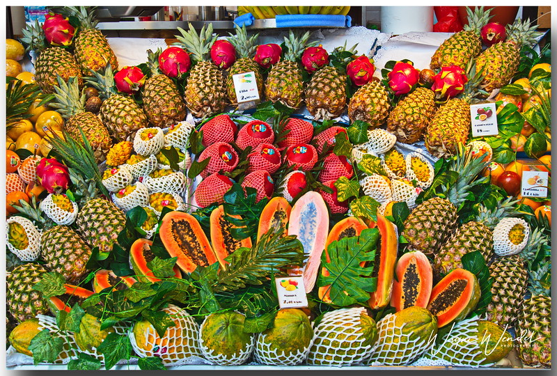 I took this in a market in Madrid.  I love all the colors of the fruits.