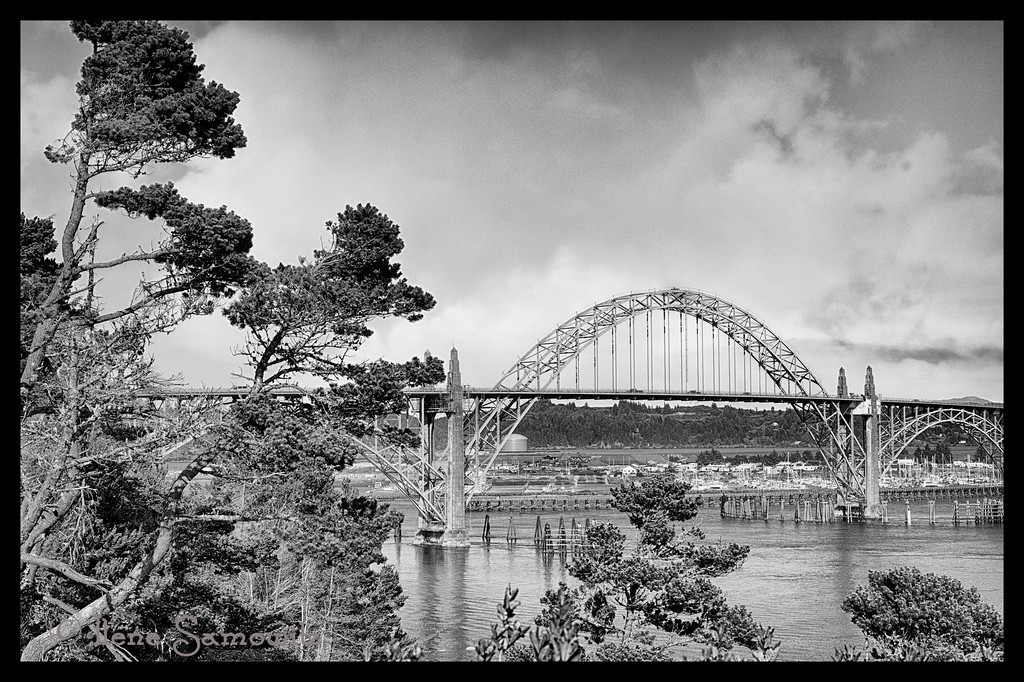 9-10-12 The Newport Bridge - This image was a 5 exposure HDR that was converted in Silver Effex Pro 2.  This image was taken during the July 4th weekend and I passed  on processing it then.  I was very happy to rediscover this one.  I really like the framing of the trees.  <br /> <br /> Critiques Welcome.