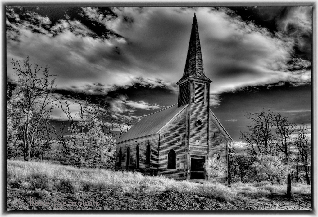 6-18-12 Infrared converted black and white image of an abandoned church not far from Wasco, Oregon.