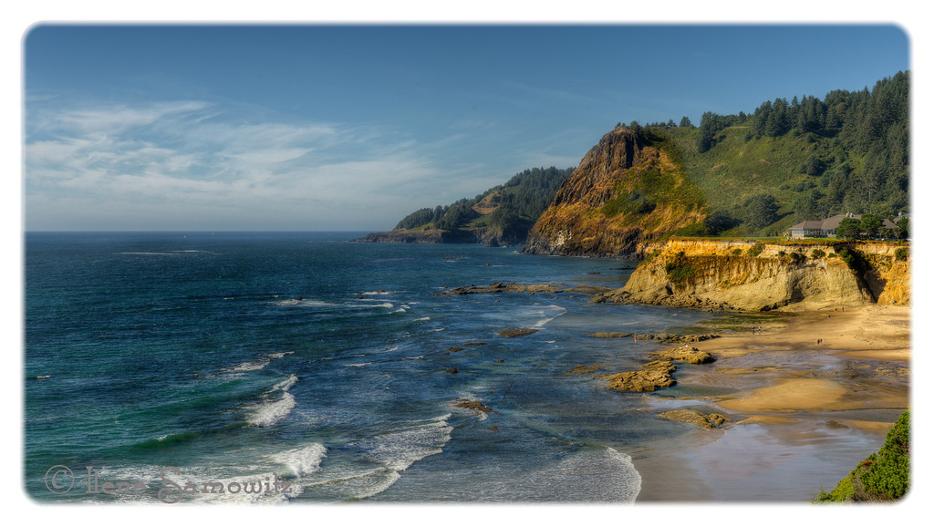 9-5-12 Central Oregon Coast - This is a 5 image HDR taken north of Newport, Oregon looking north from Devil's Punchbowl.  <br /> <br /> Critiques Welcome.  Thanks for all the comments and feedback on yesterday's long exposure.