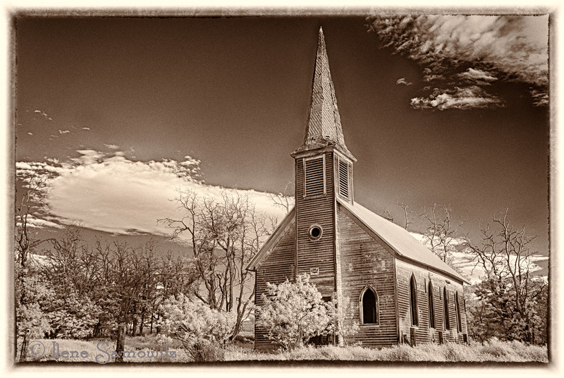 7-23-12 Sepia toned IR image of the abandoned church.  I have posted two other images of this abandoned church but decided to try it using an old time sepia look.   I love how clouds get captured using an IR camera.