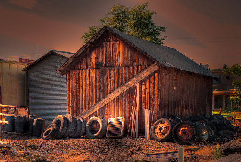 7-3-12 Dufur structure with tires - Another image from the Dufur shoot.  Love all the decaying items weathering and decaying.  Adds character to the structure.