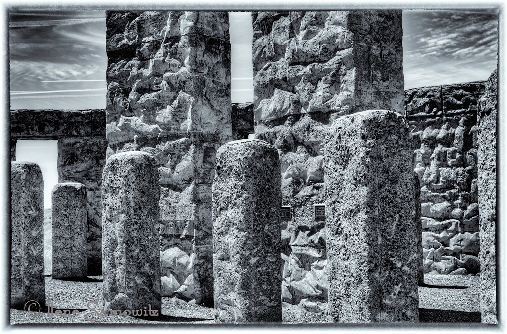 6-16-12 Black and White Stonehenge - There is a replica of Stonehenge on the Washington side of the Columbia River Gorge near Maryhill, WA.  The textures on the colors are very interesting.
