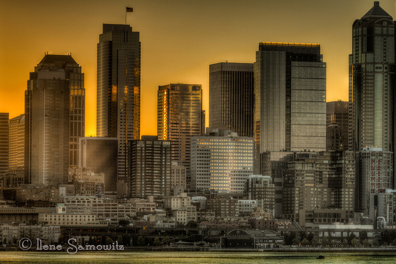 8-7 Seattle Skyline in early morning light from the Bainbridge Ferry.  I used the rented 200 F4 micro for this image as well.