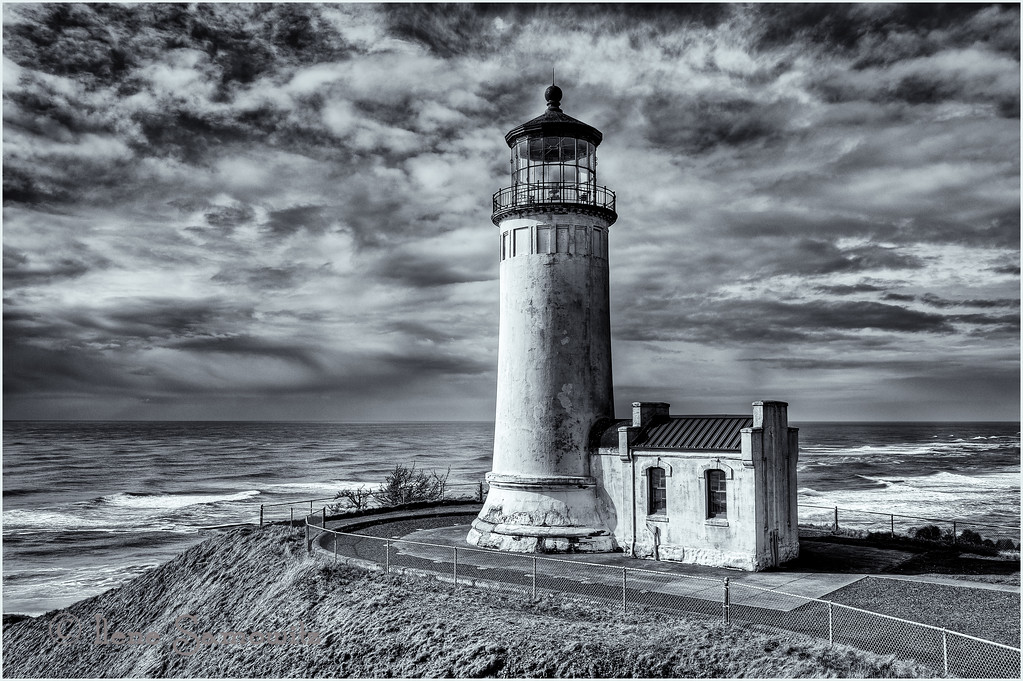 North Head Lighthouse in Black and White.<br /> Cape Disappointment State Park, Ilwaco, Washington