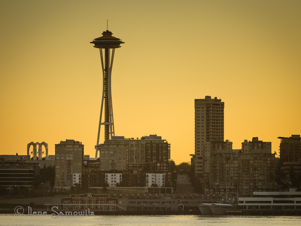 9-12-12 Space Needle from the Bainbridge Ferry, This is a single exposure from a 5 exposure sequence that I decided to process.  It is the +1 shot.  There was too much ghosting in the sequence due to boat shake.  It was processed entirely in Lightroom 4.  <br /> <br /> Critiques Welcome.