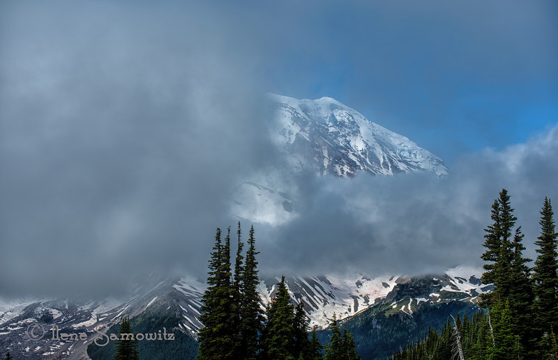 8-26-12 Morning Fog is Clearing - Early morning glimpses of Mount Rainier, Washington.<br /> <br /> Critiques welcome.