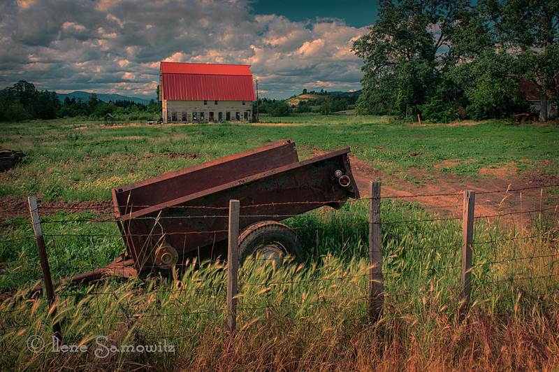 7-27-12, Another view of the same barn as I posted yesterday.  I enjoy this perspective as well with the fence line and the wagon in the foreground.  This is in the Hood River Valley, Oregon.