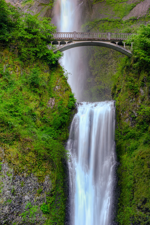 6-25-12 Close up of Multnomah Falls, Oregon <br /> <br /> This is the iconic falls of the Columbia River Gorge.  Our group went there early on a Friday morning to avoid the weekend crowds.  When we first got there we pretty much had the place to ourselves.