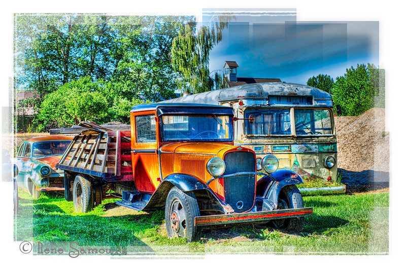 The vehicles of Dufur, Oregon.  I continue to process images from my afternoon visit to this little historic town near the Columbia River Gorge just south of The Dalles, Oregon.  Behind the buildings there are a few old and decaying vehicles with lots of charm. Posted 7-2-12.