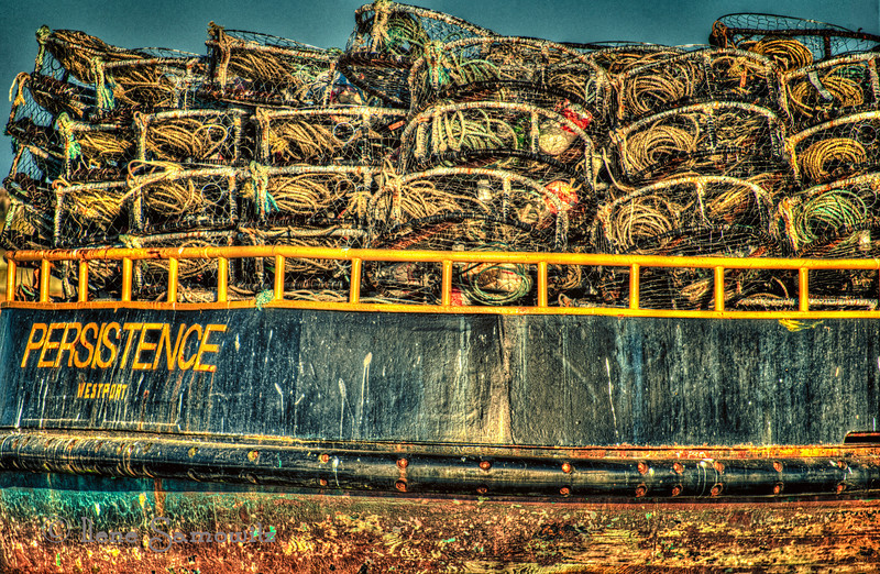 10-9-12 Persistence.  I really liked the name of the boat as well as all the crab nets and the weathered texture.  This was a 5 image HDR processed in Photomatix and Color Effex Pro 4.  <br /> <br /> In response to the questions about the Bandon workshop, this is the 5th workshop that I have gone on put on by Darrel Gulin and Jean Carter.  They last for about 6 days.  What I like the most about these workshops is going to interesting locations with a group of other photographers whose work I really like.  Many people have gone to multiple workshops that have been put on for many years.  In addition to having very knowledgeable leaders there are some amazing photographers.  I like to see the different interpretations and images that come out of the workshop when we have all been photographing at the same time and how varied and different they are both by vision and skill.  I also like having the concentrated time to devote to shooting and classroom.  Overall I really enjoy these workshops and will be going to the Oregon Cascade Workshop next October.  <br /> <br /> Critiques Welcome.