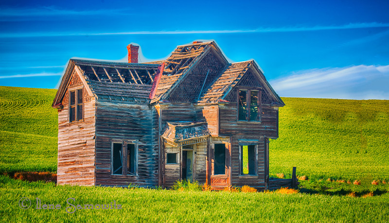 7-17-12 Abandoned House outside of Dufur, Oregon.  I have three more versions of this house that I most likely will be posting over the next bit of time..  This shows the entirety of the house with the vibrant countryside.  This type of find fascinates me with all the possibilities for photographing and telling its story.