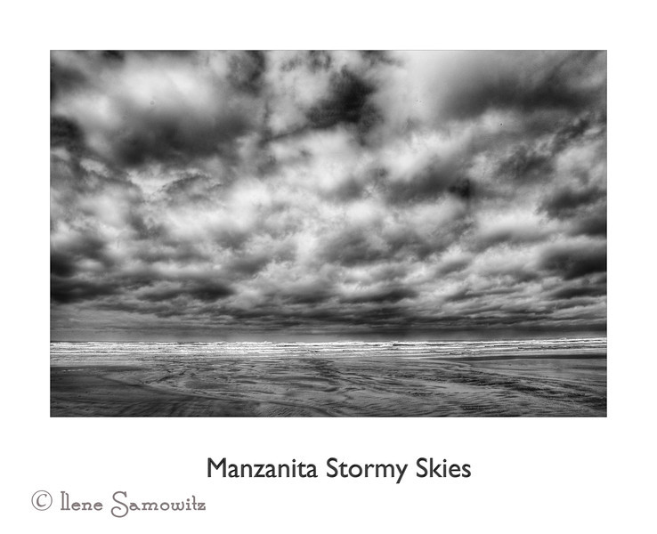 Manzanita Stormy Skies<br /> I decided to try a different format today and try this scene in a poster style.  This is the first like this that I have ever put online rather than as a print.