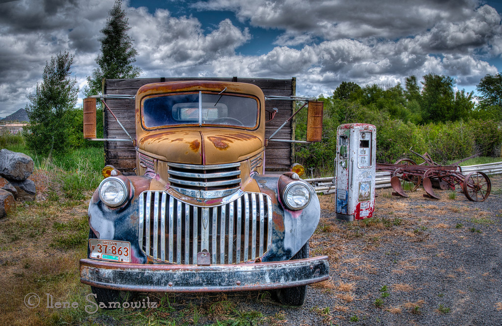 8-18-12 The Old Chevy of Prineville. I used the new wide angle adaptive filter in photoshop cs6 to do further corrections of the wide angle distortion.  I liked the result of this 5 exposure HDR processed in Photomatix.