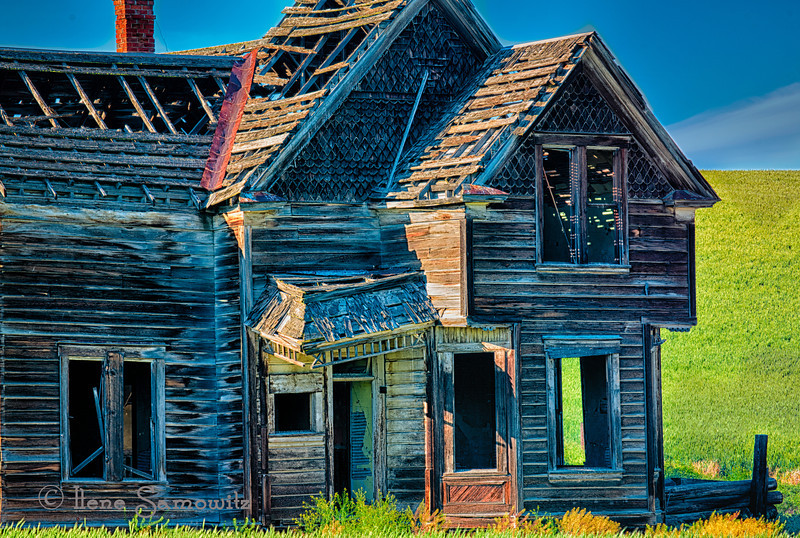 7-18-12 Details of the Abandoned House near Dufur, Oregon.  This is a closeup perspective with more detail of the abandoned house which I posted yesterday.  I continue to have fun working on many different perspectives of this wonderful find.  Thanks for all of yesterday's comments.<br /> <br /> A few answers to yesterday's questions.  I was an attendee at the Gorge_Painted Hill Workshop lead by Darrel Gulin and Jean Carter.  It was a great workshop.  This is the fourth one I have attended and will be going to another one in September to Bandon, Oregon.  Additionally, I got to shoot my new camera on the workshop the Nikon D800E which has fabulous image quality.  BTW I never was able to get inside.
