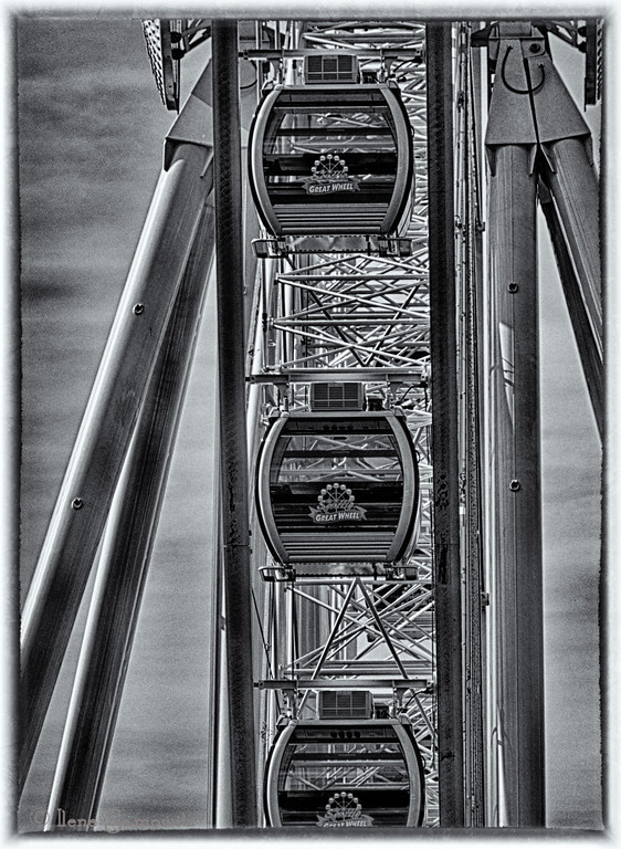 12-9-12 Close Up of the Ferris Wheel at the Seattle Waterfront - HDR converted to Black and White using Sliver Effex Pro 2.  <br /> <br /> Critiques Welcome.