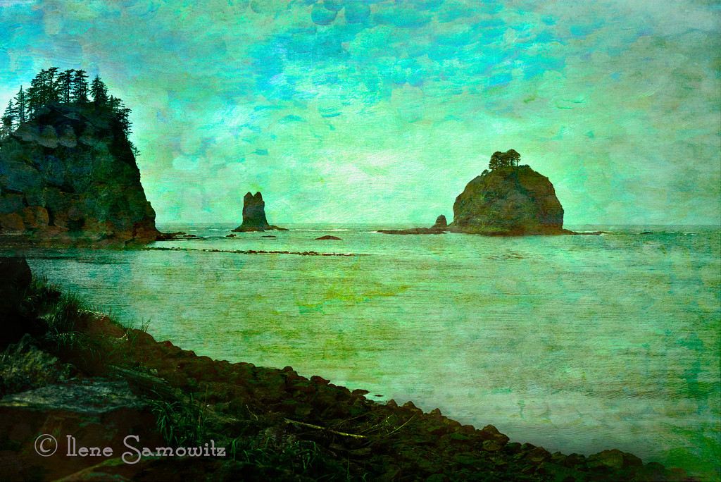8-14 La Push, Washington.  I took this image on my birthday in somewhat overcast conditions.  I applied and blended two different Flypaper textures to this image to add some depth and color.