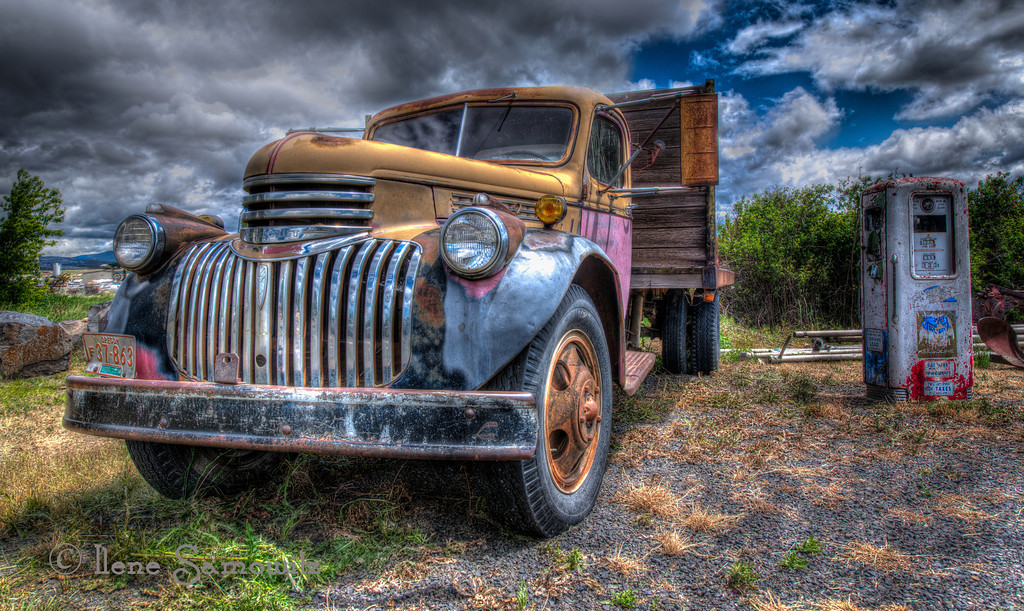 8/4/12- On the Road to Prineville - I found this wonderful old truck and gas tank while I was heading east to Prineville, Oregon.  There were some other old time goodies as well.  Thanks for all the comments on my rainbow image.