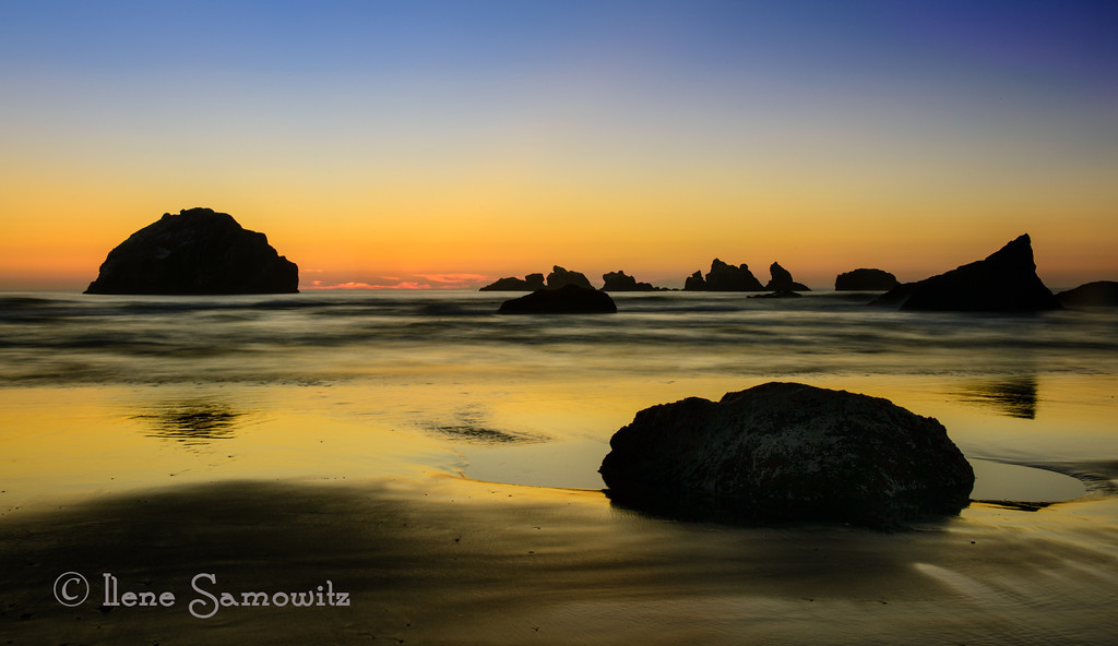 10-11-12 Face Rock and Kittens, Bandon, Oregon.  This is a single long exposure captured at 8 sec and processed in Lightroom 4 and Color Effex 4.0.  I took this during the workshop.