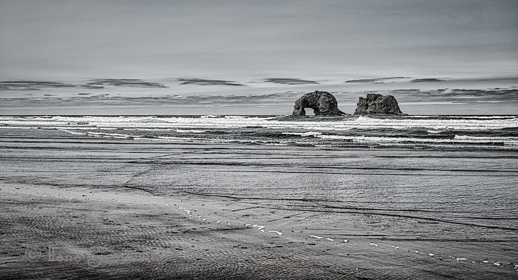 8-25-12 Rockaway Beach, Oregon - This is a 5 shot HDR processed with HDR Effex Pro 2.  I started using a Black and White preset and adjusted it for the contrast and detail that I wanted.  <br /> <br /> Critiques welcome.