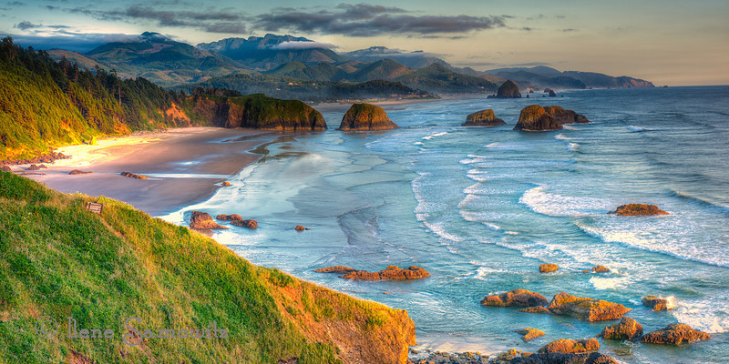 Ecola Evening Light, Ecola State Park, Cannon Beach, Oregon<br /> <br /> This was made from a series of 6 vertical HDR sequences for a total of 30 images either blended or stitched.  This took a lot of horsepower from my computer since each file is from a Nikon D800E which is 36 megapixels.