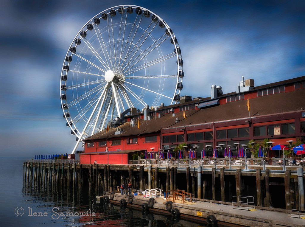 10-24-12 The New Ferris Wheel Along the Waterfront in Seattle.  This is a 5 exposure HDR shot with my Panasonic GH2 processed in Nik HDR Effex Pro 2 and Color Effex 4. <br /> <br /> Critiques welcome.