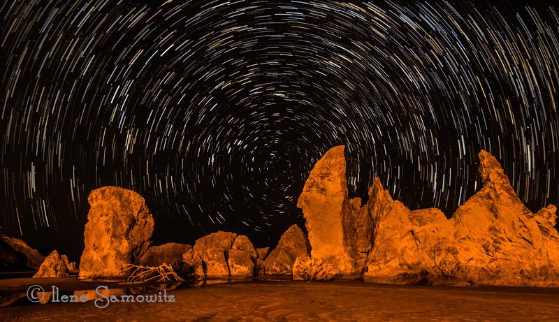 10-19-12 Star trails at Bandon, Oregon.<br /> <br /> Critiques Welcome.