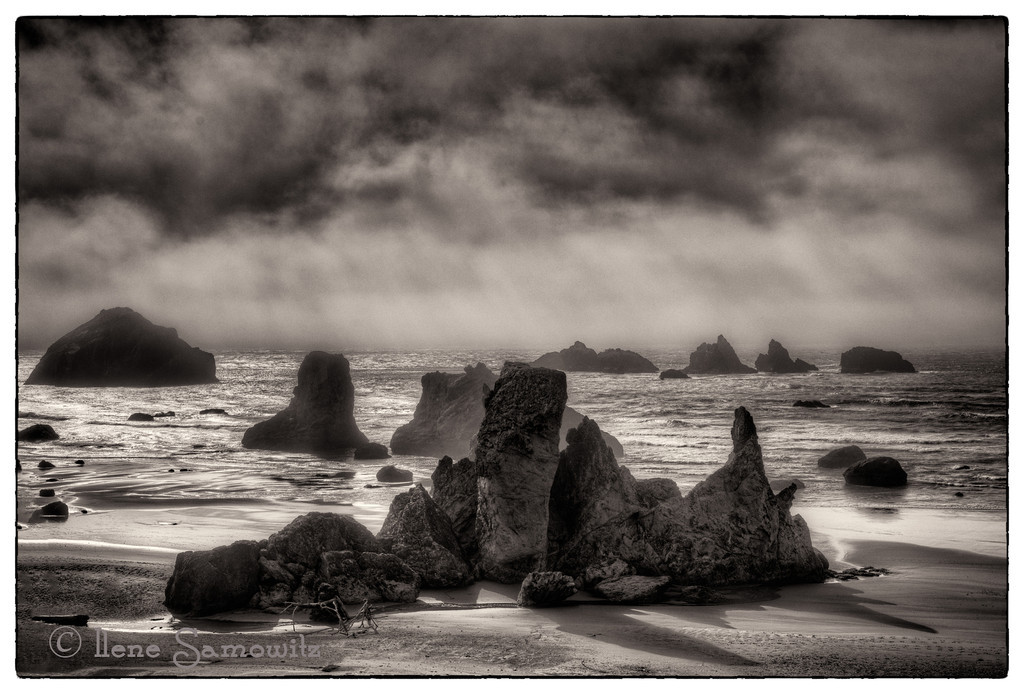 11-3-12 Storm Over Face Rock - this is a 5 image bracketed sequenced processed in Photomatix Pro and then converted in Silver Efex 4.  Today I went down to Olympia, Washington to the Nature Photographers of the Pacific Northwest where John and Barbara Gerlach. spoke on Mastering Digital Exposure and Advanced Flash Techniques.  The lectures were ok but I found them to be a refresher.  I had fun meeting someone I met online and catching up with workshop friends.  I was also able to get my camera cleaned for a good price and got to see some amazing images from the participants.  If all goes well the next meeting will be in Eugene in April and Franz Lanting will be the speaker.  <br /> <br /> Critiques Welcome.