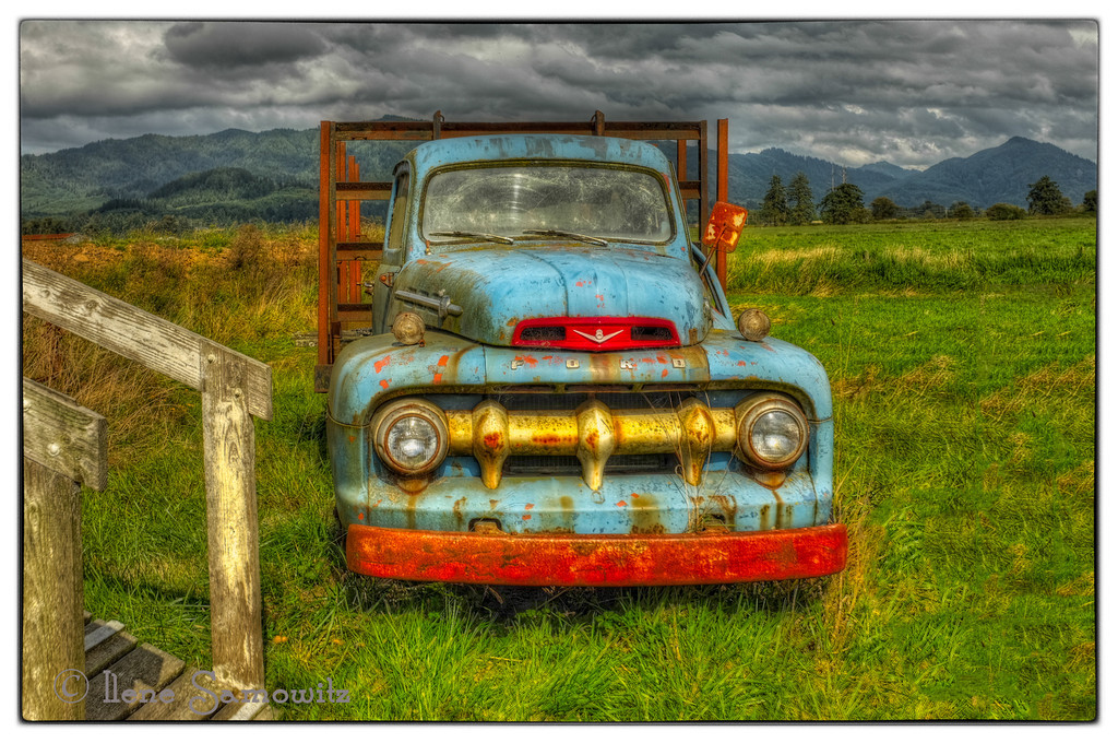 9-4-13 This old ford was found at the Great Blue Heron Cheese Factory in Tillamook, Oregon.