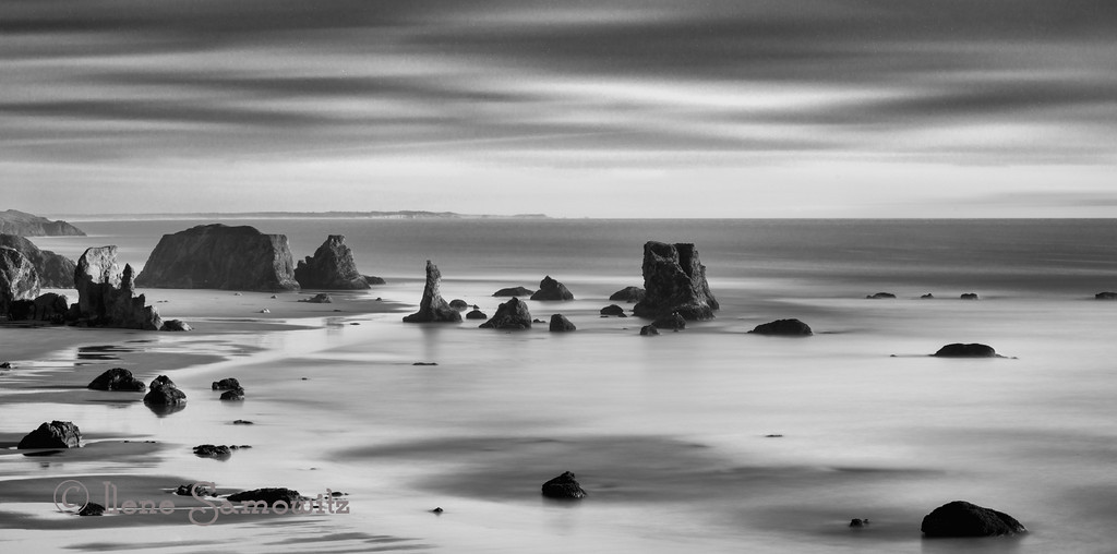5-14-13 Another long exposure taken at Bandon, Oregon from the overlook at Elephant Rock.  This is a 274 sec exposure that was converted in Silver Effex 2.
