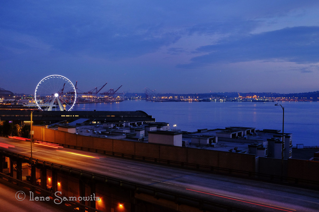 8-1-13 Another Seattle Ferris Wheel shot taken last night from the Pike Place Market with my Fuji X100s. I seem to gravitate to the wheel.