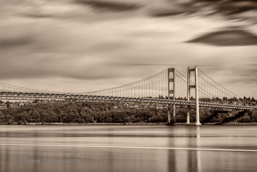 5-11-13 The Tacoma Narrows Bridge long exposure (93 sec).  I converted this and toned this image to be sepia.<br /> <br /> Thanks for making my Cape Blanco image number one