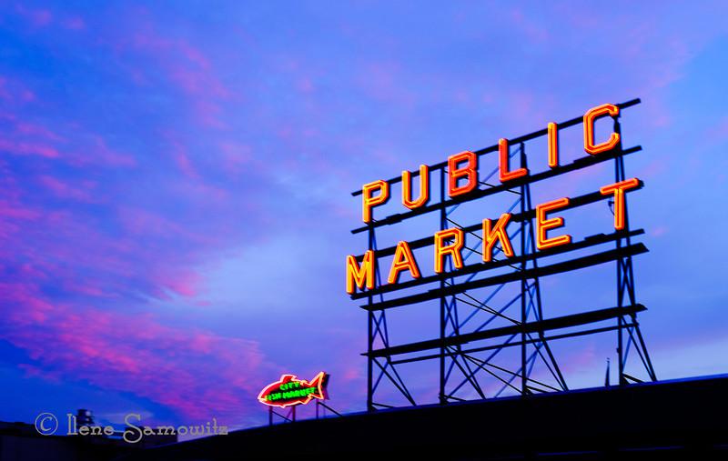 8-6-13 Sunset at the Pike Place Market. Seattle, WA.