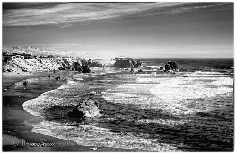 2-14-13 Bandon Infrared - This was taken from an overlook at Bandon, Oregon with an infrared converted enhanced color conversion camera.  I converted the image to Black and White in Silver Effex 2.