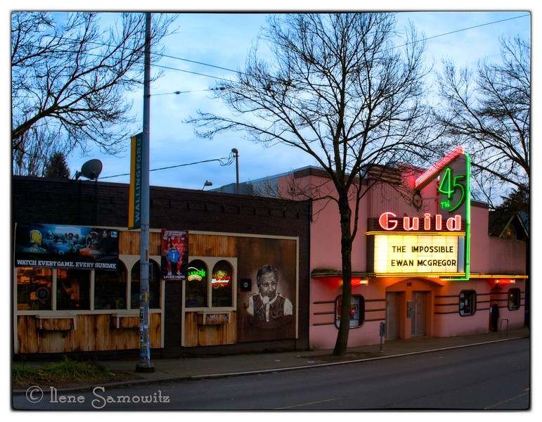 2-7-13 The Guild 45 Theater in Wallingford, a neighborhood west of the U Dist in Seattle, Washington.<br /> This was taken with my Nikon 1 V1.  Judy (fotoeffects) asked if I like my V1 better than my Nikon D800E.  Absolutely not the Nikon D800E is my favorite camera ever.  I don't like the V1 better than my Olympus and Panasonic Micro 4/3s but I am shooting with it a lot now since it is the everywhere camera that I am using since I am getting to know it.  It is fast and snappy and very basic.  It's winning point for me is my ability to use my Nikon afs lens on it with the use of adapter which gives me amazingly long telephoto capability in a small package.  The crop factor is 2.7 and the image quality is good.  My 70-300 lens becomes around a 180-810.