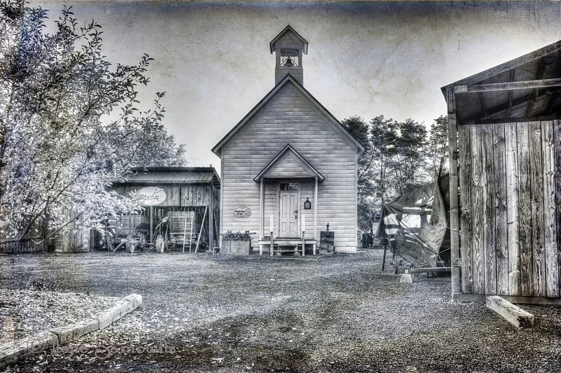 """12-22-13 Dufur schoolhouse built in 1892. <br /> <br /> <a href=""""http://dufurhistoricalsociety.org/school.php"""">http://dufurhistoricalsociety.org/school.php</a><br /> <br /> I converted the hdr into a black and white in Silver Effects Pro 2. And then blended a couple of textures from Flypaper Edge Collection."""
