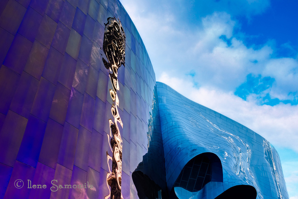 "8-10-13 E is for ""EMP"" which is the Experimental Music Project Museum.  Paul Allen is responsible for its creation.  As an added bonus the Seattle Space Needle is reflected.<br /> <br /> I wonder if someone can help?  I am only seeing 5 photos when I look at te Daily Photos Best of the Day.  Yesterday I only saw 20. Am I alone in this?  Please help!  Mary already let me know it is Smug. I sure hope they fix it."
