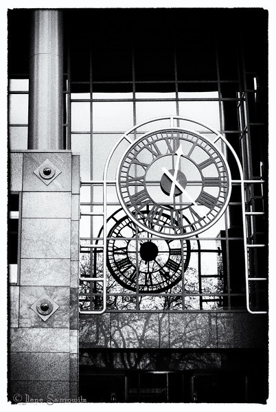 4-20-13 This is the clock on the City of Bellevue building.  This was converted using Silver Effex Pro.  I started with Film Noir 1, a preset I never used before.