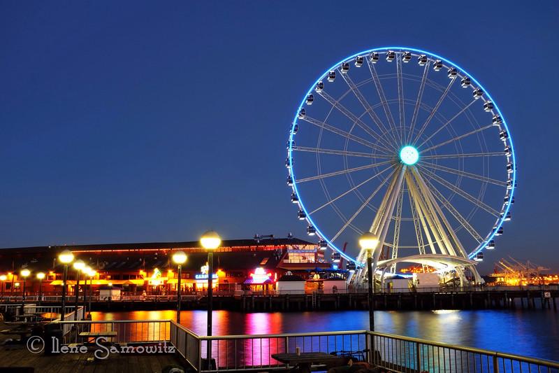 Twilight at Seattle's Big Wheel