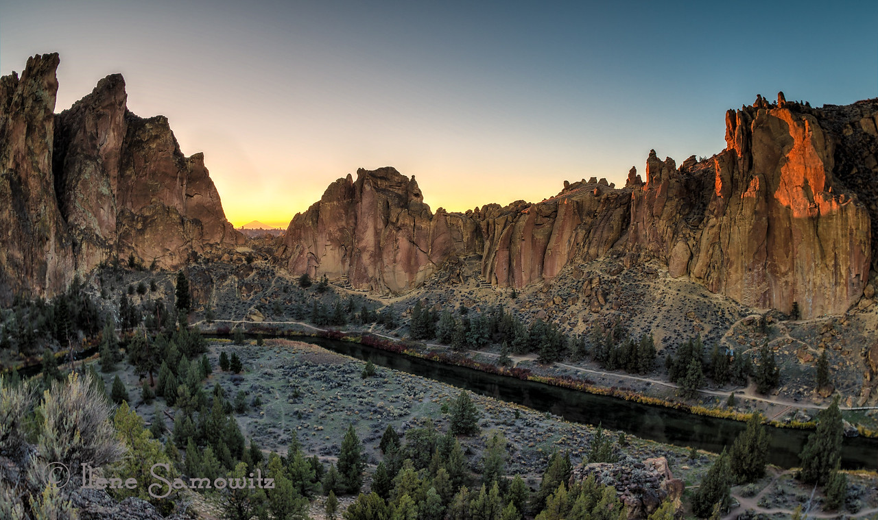 Smith Rock, Oregon at sunset. <br /> <br /> I arrived tonight in Chicago. Working tomorrow then hoping to do some shooting on Saturday. Suggestions are welcome  I leave for India on Sunday. I will be working Tuesday -Friday. Then I will be traveling outside of Bangalore in South India. I am so excited about this adventure.<br /> <br /> I will try to post whenever I can but my commenting will be very limited.