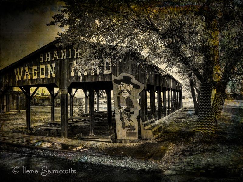 Shaniko Wagon Yard a ghost town in Oregon.