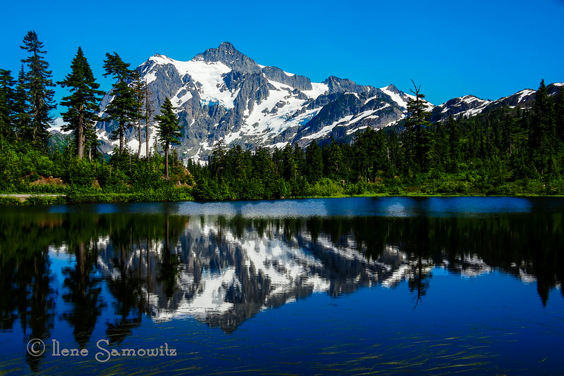 Picture Lake in Mount Baker National Park, WA with <br /> Mount Shucksan.