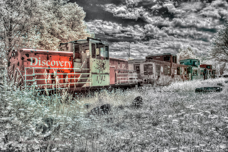 Selective color IR shot of Discovery Bay RR in Washington